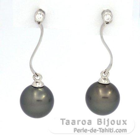 f74d34f29c7c Aretes de Plata .925 y 2 Perlas de Tahiti Redondas C 8.1 mm - Taaroa ...