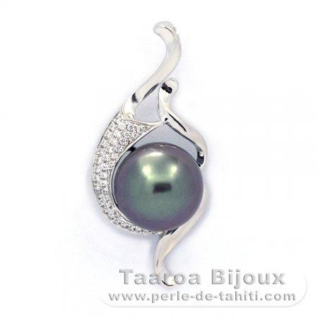 887c4b1e154b Colgante de Plata .925 y 1 Perla de Tahiti Semi-Redonda C 11.2 mm ...