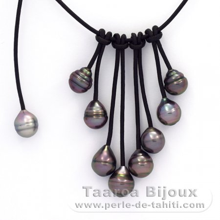 """8-9 mm Collar De Perlas Tahitianas Barroco Azul 18/"""" JN230"""