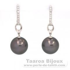2aeba21aee17 Aretes de Plata .925 y 2 Perlas de Tahiti Redondas C 11.1 y 11.2 mm